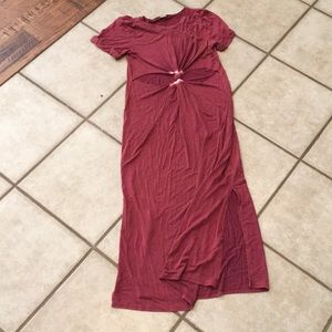 Red maxi dress front twist cut out